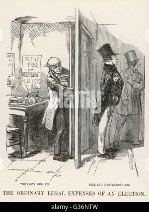 A cartoon satirising 'The Ordinary Legal Expenses  of an Election'.          Date: 1853 - Stock Photo