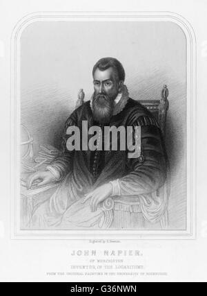 John Napier, 8th Laird of Merchiston, Scottish mathematician, physicist, astronomer and astrologer, inventor of - Stock Photo