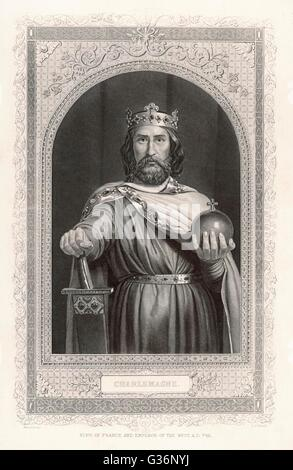 Charlemagne (Carolus Magnus. Karolus Magnus, Charles the Great), King of the Franks from 768, King of the Lombards - Stock Photo