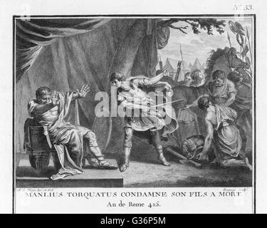 Titus Manlius Torquatus, as Roman Consul, condemns his own son to death for leaving his post in wartime against - Stock Photo