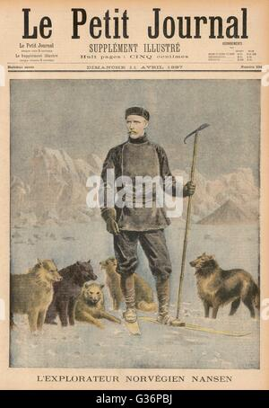 Fridtjof Nansen (1861-1930), Norwegian explorer, scientist, diplomat and humanitarian.  Seen here with dogs in an - Stock Photo