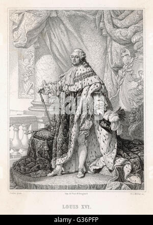 Louis XVI, King of France (1754-1793, reigned 1774-1792).   A full length portrait in royal robes.        Date: - Stock Photo