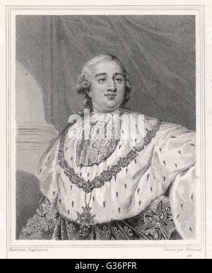 Louis XVI, King of France (1754-1793, reigned 1774-1792).  A half-length portrait in royal robes.      Date: 1754 - Stock Photo