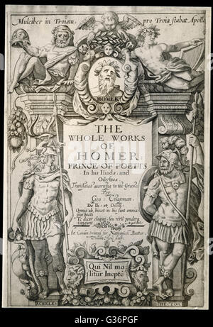 """Title page of the First Edition of """"The Whole Works of Homer"""" translated into English by George Chapman, - Stock Photo"""