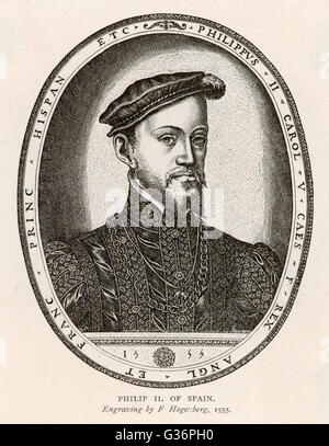Philip (Felipe) II, King of Spain (reigned 1556-1598). He was also King of Portugal, Naples and Sicily, and, while - Stock Photo