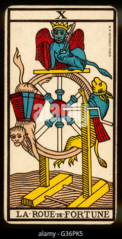 Tarot Card 10 - La Roue de Fortune (The Wheel of Fortune). - Stock Photo