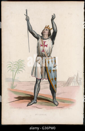 Louis IX, King of France (reigned 1226-1270), also known as Saint Louis, crusader in the Holy Land.  Seen here in - Stock Photo