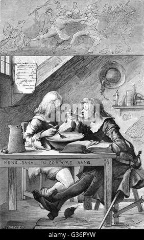 Swedish university students enjoy a working lunch in their lodgings.     Date: 17th century - Stock Photo