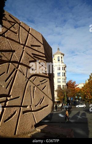 Modern concrete sculptures in the Jardines del Descubrimiento, Plaza de Colon, Madrid, Spain - Stock Photo
