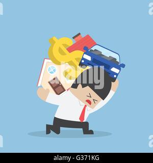 Businessman carrying house car and dollar sign, Debt concept, VECTOR, EPS10 - Stock Photo