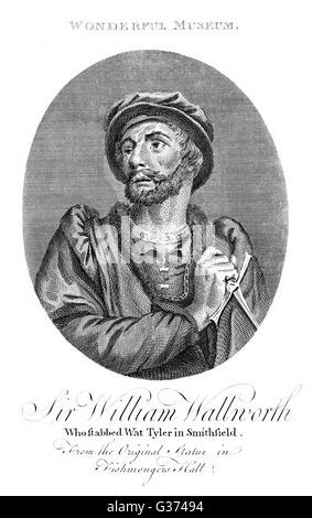 SIR WILLIAM WALWORTH wealthy fishmonger, lord mayor  of London, slayer of political  radical Wat Tyler, for which - Stock Photo