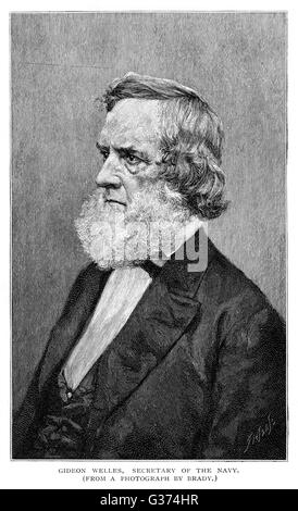 GIDEON WELLES American statesman, Secretary  of the Navy        Date: 1802 - 1878 - Stock Photo