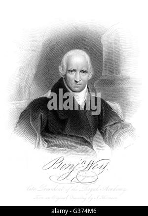 BENJAMIN WEST American artist  with his autograph       Date: 1738 - 1820 - Stock Photo