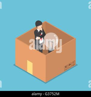 Isometric businessman with light bulb of idea inside the paper box, think inside the box, business idea concept - Stock Photo
