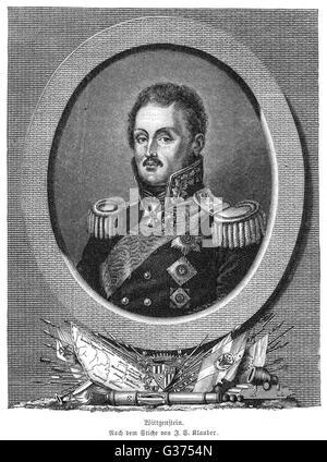 LUDWIG PRINZ WITTGENSTEIN Russian military commander in  the Napoleonic wars.        Date: 1769 - 1843 - Stock Photo