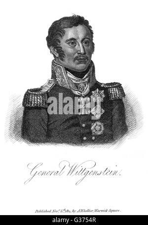LUDWIG PRINZ WITTGENSTEIN Russian military commander         Date: 1769 - 1843 - Stock Photo
