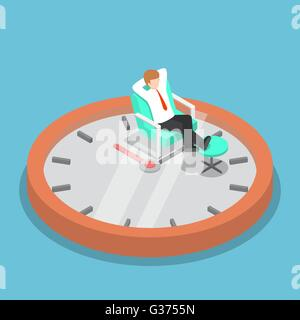 Isometric businessman holding hands behind head and relaxing on the sofa with clock, break time, time management - Stock Photo
