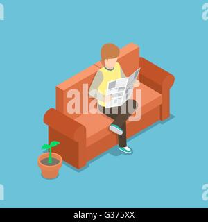 Businessman reading a newspaper on the sofa, VECTOR, EPS10 - Stock Photo