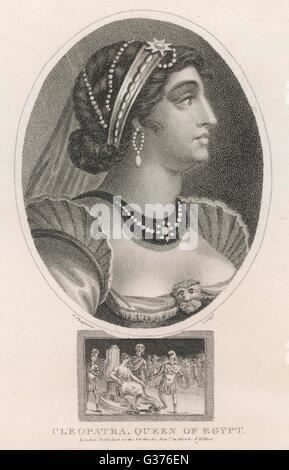 CLEOPATRA VII  Queen of Egypt.        Date: 69 - 30 BC - Stock Photo