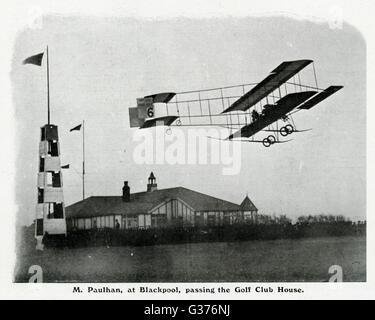 Louis Paulhan, pioneering French aviator flying in Farman III biplane, in a competition in Blackpool, September - Stock Photo