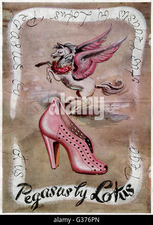 Advertisement for the Pegasus shoe by Lotus which is high-heeled, pink and very cute!     Date: 1948 - Stock Photo
