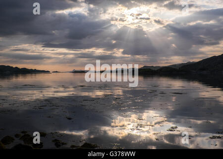 Evening light on the Scottish West Coast, near Arisaig - Stock Photo