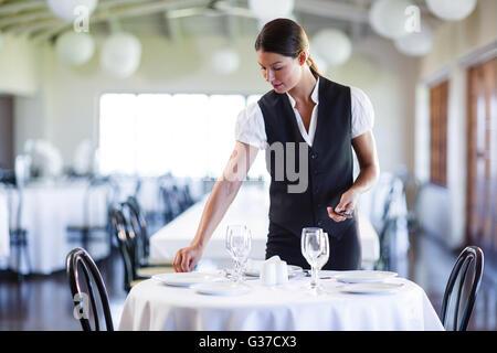 Smiling waitress setting the table - Stock Photo