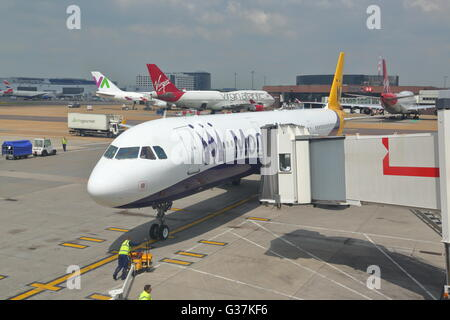 Monarch Airbus A321-231 G-ZBAK at the gate at Funchal Airport, Madeira, Portugal - Stock Photo