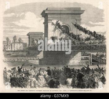 The Oxford and Cambridge  Boat Race : Scene at  Hammersmith Bridge.       Date: 1866 - Stock Photo