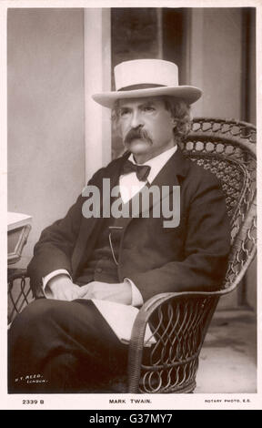 MARK TWAIN American writer  Born :  Samuel Langhorne Clemens   1835 - 1910 - Stock Photo