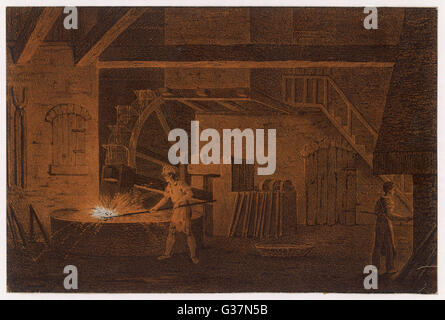 Using a drop-hammer (powered  by a water-mill) in an early  19th century ironworks        Date: circa 1830 - Stock Photo