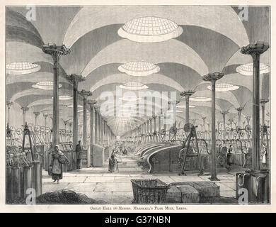 Marshall's flax Mill, Leeds : the Great Hall         Date: circa 1840 - Stock Photo