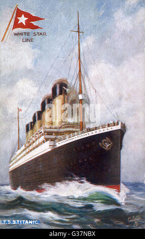 RMS Titanic, passenger liner of the Cunard  White Star line; she is the largest and most luxurious ship afloat : - Stock Photo