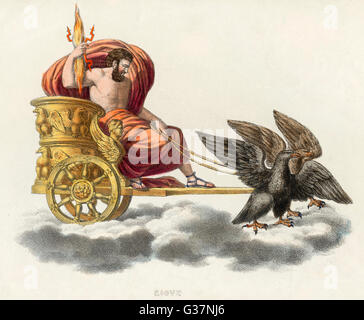 Zeus, carrying a handful of  thunderbolts, in his golden  chariot drawn by eagles - Stock Photo