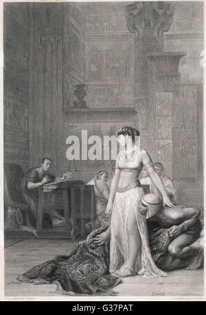 CLEOPATRA VII  Queen of Egypt allegedly  delivered to Caesar in a  carpet      Date: 69 - 30 BC - Stock Photo