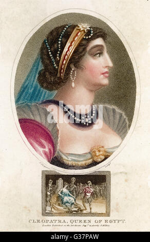 CLEOPATRA VII  Queen of Egypt         Date: 69 - 30 BC - Stock Photo