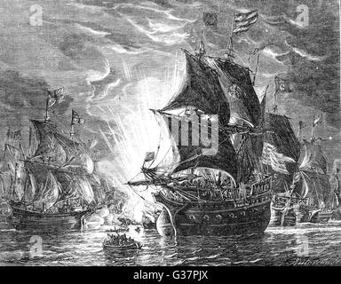 THE SPANISH ARMADA The Spanish fleet assailed by  fireships sent among them in  the Calais Roads       Date: July - Stock Photo