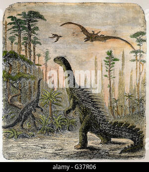 Dinosaurs of the Jurassic  period : a Stegosaurus, with a  Compsognathus in the  background - Stock Photo