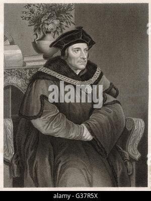 SIR THOMAS MORE  English statesman and author     1478 - 1535 - Stock Photo