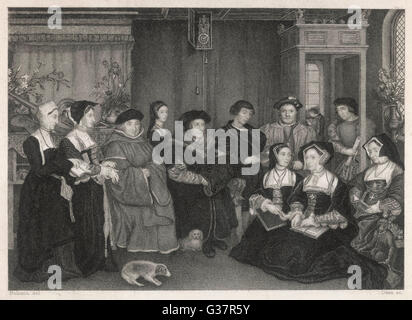 SIR THOMAS MORE  English statesman and author and his household     1478 - 1535 - Stock Photo