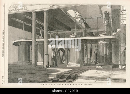 The four engines which supply  power to the machines at Dean  Mills cotton-mill (between  Bolton & Manchester, - Stock Photo