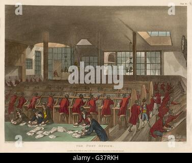THE GENERAL POST OFFICE, Lombard Street, London         Date: 1809 - Stock Photo