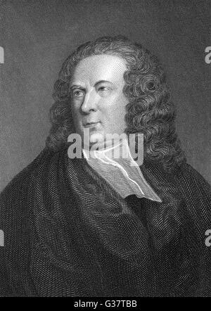 EDWARD YOUNG  Writer.        Date: 1683 - 1765 - Stock Photo