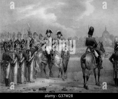 CHARLES X, KING OF FRANCE  Reviewing his army in the Champs de Mars, Paris       Date: 1757 - 1836 - Stock Photo