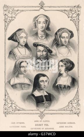 KING HENRY VIII (1491 - 1547) Portrait of the King of  England with all his wives  SEYMOUR/CLEVES/HOWARD/PARR/ARAGON/BOLEYN - Stock Photo