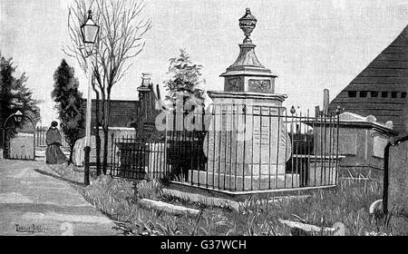 WILLIAM HOGARTH (1697 - 1764) Tomb of the English artist and  engraver in the churchyard at Chiswick, West London - Stock Photo