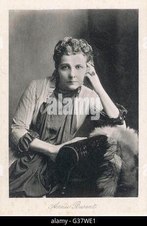 ANNIE BESANT  English theosophist and Indian  political leader       Date: 1847 - 1933 - Stock Photo