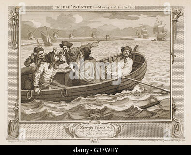 5. The idle 'prentice turn'd away and sent to sea (final destination unknown).     Date: 1747 - Stock Photo