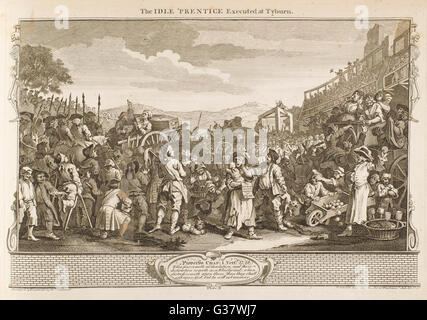 11. The idle 'prentice  executed at Tyburn         Date: 1747 - Stock Photo