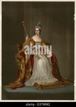 QUEEN VICTORIA  In her Coronation robes, June 1838       Date: 1819 - 1901 - Stock Photo